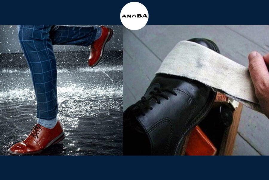 Giày da bo nam cao cấp rất kị nước mưa